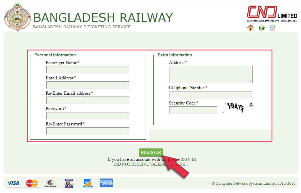 Registration for Bangladesh Railway Online Ticket