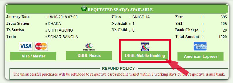 BD Train Ticket Online Payment