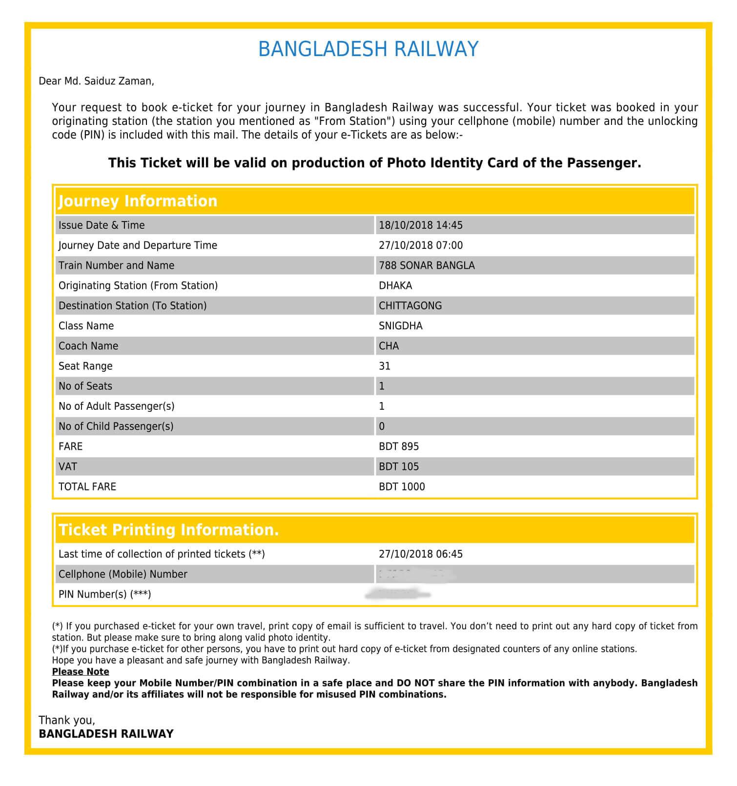 BD Train Ticket Online